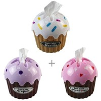 Cupcake Tissue Holder and Dispenser Cover (3-Pack Bundle)