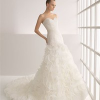 Vintage Gorgeous organza a-line strapless sweetheart sweep train wedding dresses MLVB0059