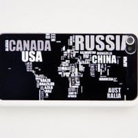 Rubber Case creative world map case for iphone 4s/4