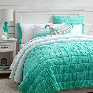 Ombre Ruched Quilt + Sham