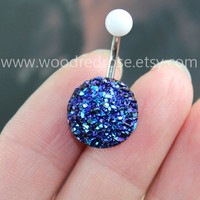 Sparkling belly ring,blingbling belly button ring,Blue Navel , Navel Piercing Ring Stud Piercing