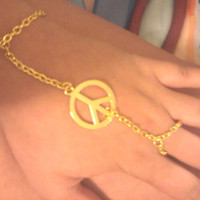 Boho Hippie Gold Peace Sign Slave Bracelet