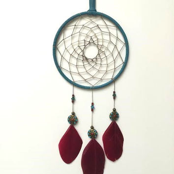 Dreamcatcher - Southwestern - Red, Blue - Beaded Dream Catcher