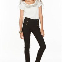 A'GACI Gold Button Skinny Mill Pant - BOTTOMS