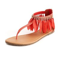 Boho Feather T-Strap Sandal: Charlotte Russe