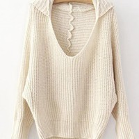 Hooded V Neck Beige Sweater$40.00