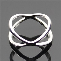 Silver double circle ring - size 4