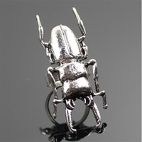 Silver beetle ring adjustable