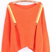 Zipper Loose Sweater Orange$56.00