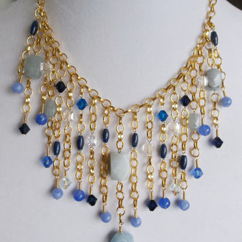 Aquamarine and Blue Agate Gemstone Waterfall Necklace with Swarovski and Czech Crystal in Gold // 18.5 inches