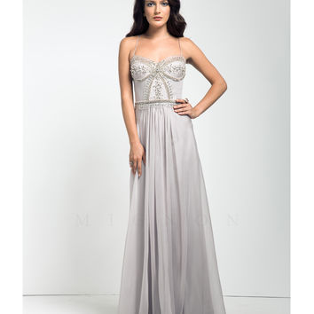 Preorder - Mignon Dove Grey Grecian Embellished Dress Prom 2015