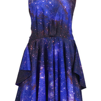 Galaxy Print Cut-Out Dress [NCSKSD0023] - $43.99 :