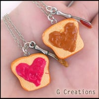PB & Jelly Best Friend Necklace Set of 2 - Peanut Butter and Strawberry Jam - PB and J Heart Kawaii Polymer Pendant Miniature Food Jewelry