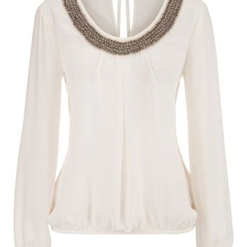 embellished neck bubble hem blouse