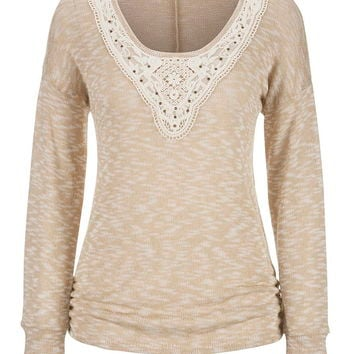 oatmeal dolman with studded crochet neckline