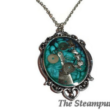 Turquoise Blue Mermaid Steampunk Necklace - Steampunk Mermaid Necklace
