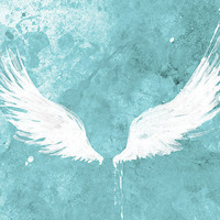 White Wings (turquoise) Art Large Fine Art Print - 24x36 Wall Art home decor