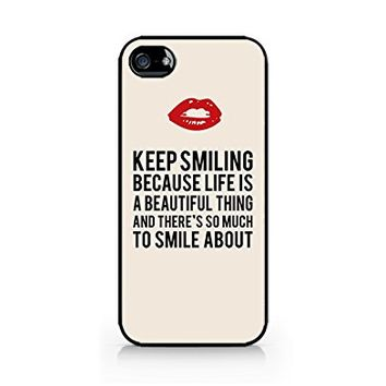 Keep Smiling - Pop Art Design - Inspirational Quotes - iPhone 4/4S Black Case (C) Andre Gift Shop