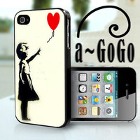 iPhone 4/4s case, Letting Go, Banksy Girl custom cell phone case