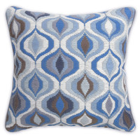 Blue And Grey Waves Bargello Throw PillowITEM #: 23253