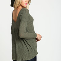 Olive Ribbed Knit Scoopback Top