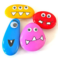 Rock Monster Fridge Magnets Set of 4.