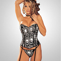 Shirley of Hollywood Skull Print Corset Set LingerieSet 25924 at BareNecessities.com