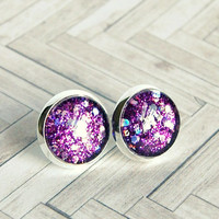serious moonlight purple sparkle post earrings, silver plated, stud, glitter, faux plug, stocking stuffer, cabochon earrings