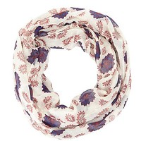 Mini Floral Print Infinity Scarf by Charlotte Russe - Ivory
