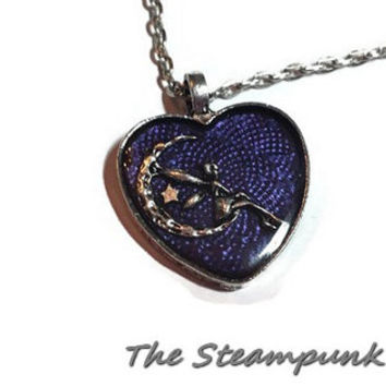 Purple Fairy Heart Pendant Necklace - Purple Heart With Fairy