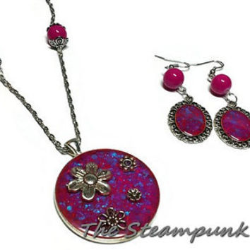 Pink and Blue Resin Necklace and Earrings Set - Beaded Earrings