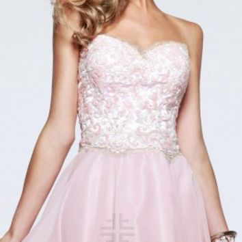 Embroidered prom dresses by Faviana