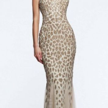 Beaded animal print prom dresses by Faviana