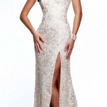 Lace overlay prom dresses by Faviana