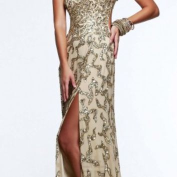 Sequined wave prom dresses by Faviana