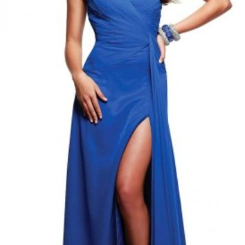 Jeweled sash prom dresses by Faviana