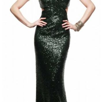 V shaped back sequined prom dresses by Faviana