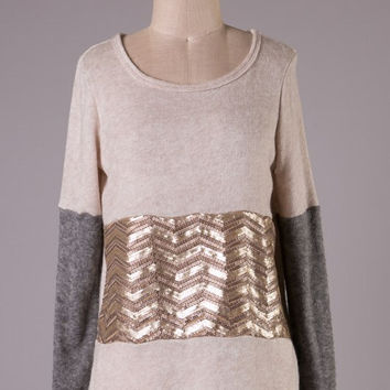 Beige Sweater Top with Gold Sequin Detail