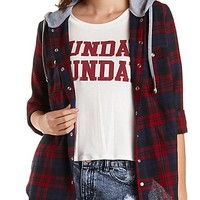 Hooded Plaid Flannel Button-Up Shirt