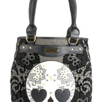 Skull With Lace Tote Bag