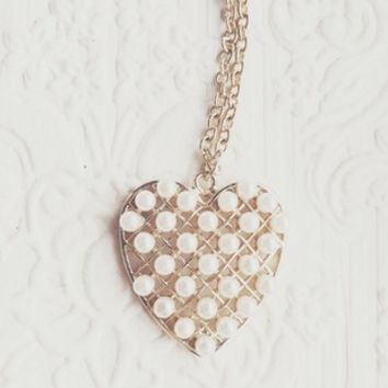 Pearl Plated Beaded Gold Heart Necklace