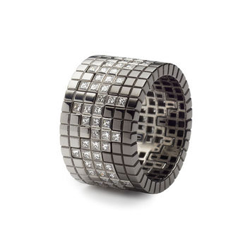 Francesca Grima: RINGS: Stackable Pixel Ring set white/diamond/black