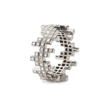 Francesca Grima: RINGS: Stackable Pixel Diamond-set Ring (centre)