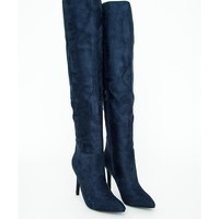 Missguided - Kate Faux Suede Knee High Heeled Boots Navy