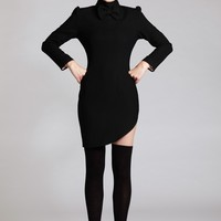 Bondgirl Bow Turtle Neck Side Slitdress