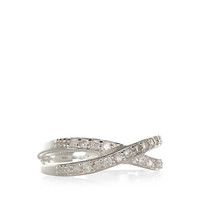 Sterling Silver Crossover Crystal Ring | Clear | Accessorize