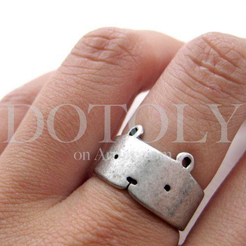 Simple Teddy Bear Animal Ring in Silver - Sizes 5 to 9 Available