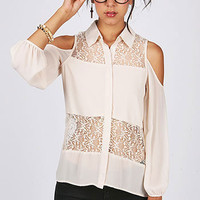 Lace Peak Blouse - Chiffon Blouses at Pinkice.com