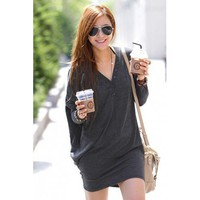 Dark Grey Bat Sleeves V-neck Leisure Long Shirt Cotton Top@XYZ2161dg