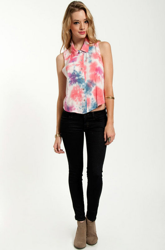 Sunburst Button Up Top $44